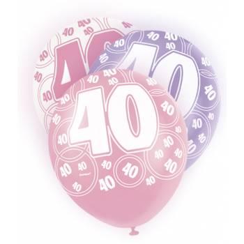 6 Ballons rose/blanc/parme 40 ans