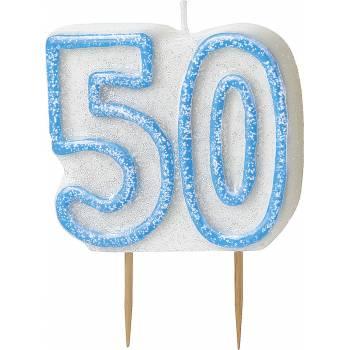 Bougie 50 ans Bleu pailleté