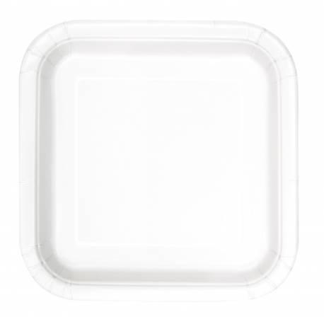 Paquet de 14 assiettes en cartonblanche Dimensions : 23 cm x 23 cm