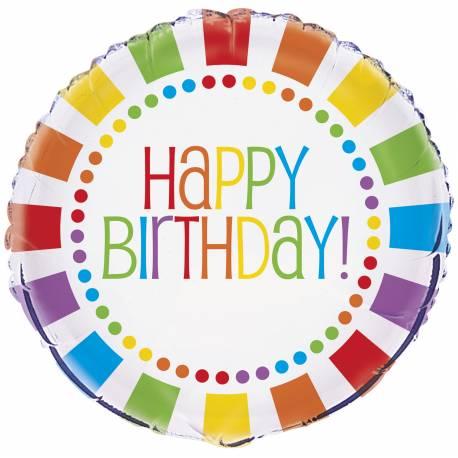 Ballon happy birthday Rainbow en aluminium pour la décoration anniversaire de votre enfant. Ce pouvant être gonflé avec ou sans hélium à...