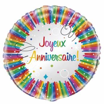 Ballon hélium Joyeux anniversaire rainbow