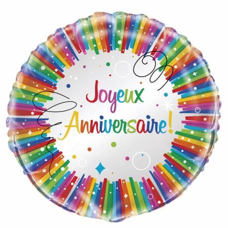 Ballon en aluminium Joyeux anniversaire pouvant être gonflé avec ou sans hélium à l'aide d'une paille. Dimensions : Ø 45 cm
