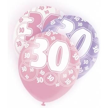 6 Ballons rose, blanc, parme 30 ans