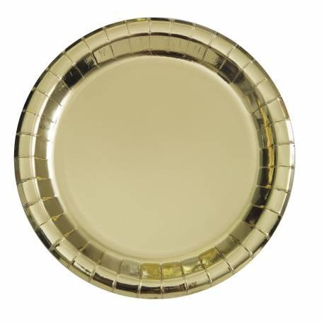 8 Assiettes dessert rondes en carton de couleur or métallisé Dimensions : 18 cm