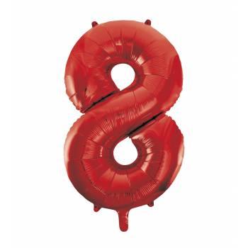 Ballon géant chiffre 8 rouge
