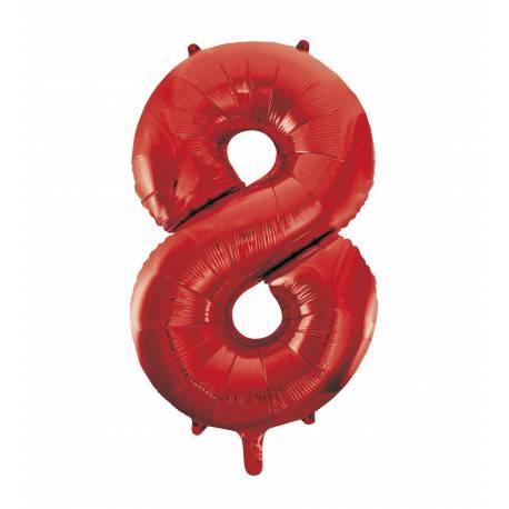 Ballon géant chiffre 8 rouge Ballon en aluminium pouvant étre gonflé avec ou sans hélium à l'aide d'une paille Dimensions: 86 cm Vendu à...