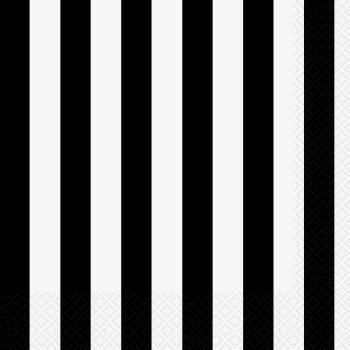 16 serviettes rayures noire et blanche