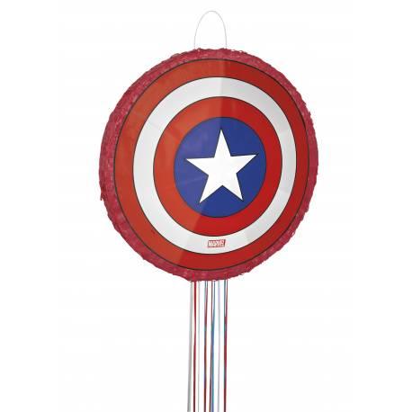 Pinata 3D Bouclier Captain America à fils pour créer une belle décoration d'anniversaire à thème à votre enfant. Dimensions: 45 cm