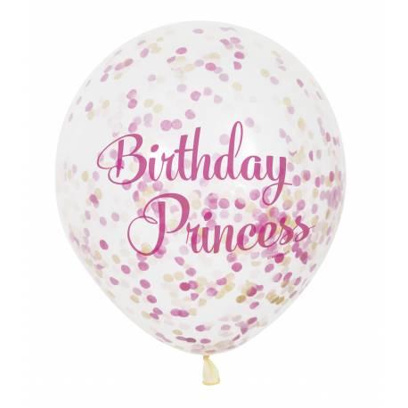 6 Ballon confettis princesses pour la décoration anniversaire de votre enfant.