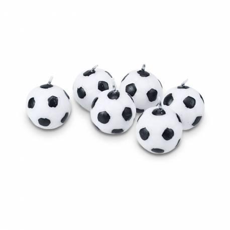 Lot 6 Bougies Ballon de Football pour créer une belle décoration d'anniversaire à thème à votre enfant. Diamètre: 3 cm Lot de 6 bougies
