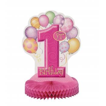 Centre de table 1 an ballons rose