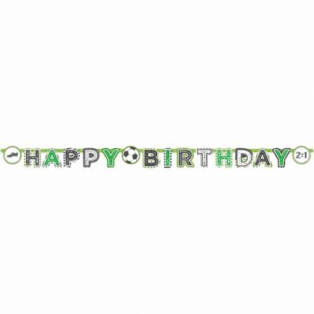 Guirlande Happy Birthday foot party idéal pour la décoration d'un anniversaire Dimensions : 200cm x 15cm
