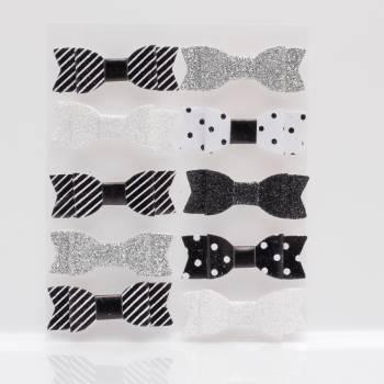 10 Noeuds noir et blanc assortis autocollant