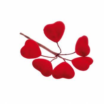 12 Bouquets de 5 coeurs rouge velour