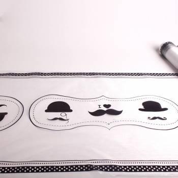 Chemin de table jetable Moustache