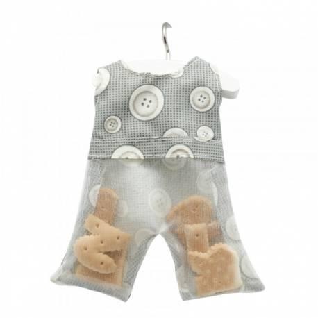 10 Mini salopette à dragées grise impression boutons, à garnir avec 10 mini cintres Très original pour offrir aux invités de votre...