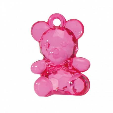 Sachet contenant 10 totoches ourson rose fuschia en plastique Dimensions : 3.4 cm