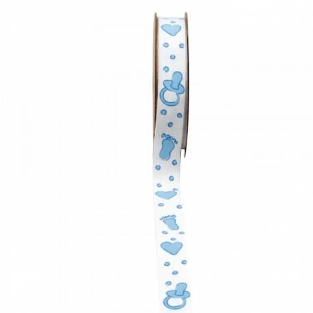Ruban en coton avec impressio pied, coeur, tétine bleu Dimensions : 15 mm x 5 mètres Non laitonné