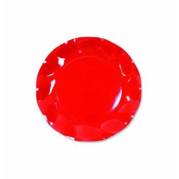 10 Assiettes corolle rouge 21cm