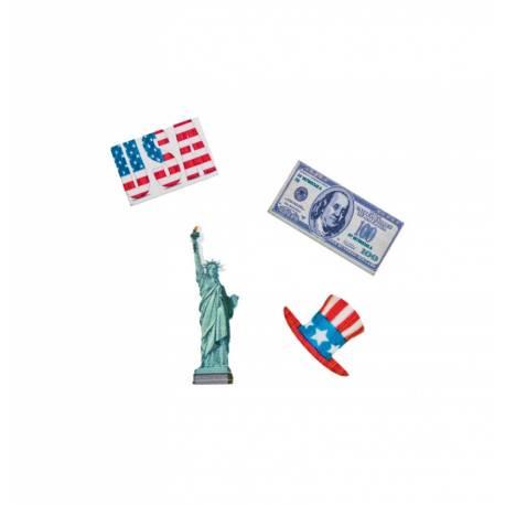 16 confettis de table en bois thème USA Dimensions : 3 cm