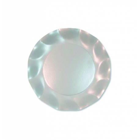 10 Assiettes jetables forme corolle blanc pour la décoration de vos fêtes et anniversaires. Ø 21 cm