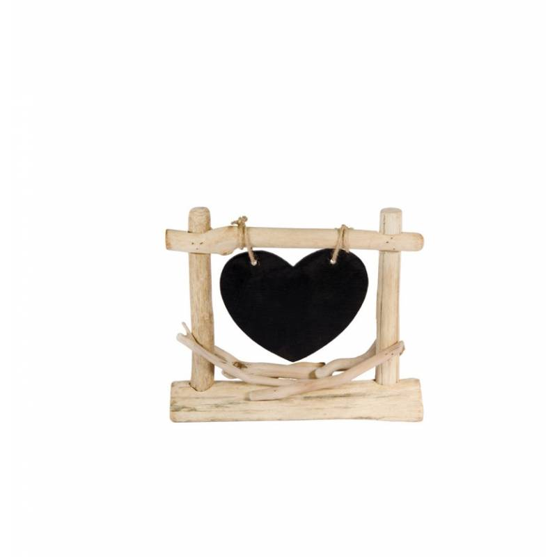 Centre de table ardoise bois flotté coeur