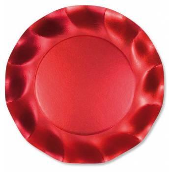 10 Assiettes corolle rouge satiné 21cm