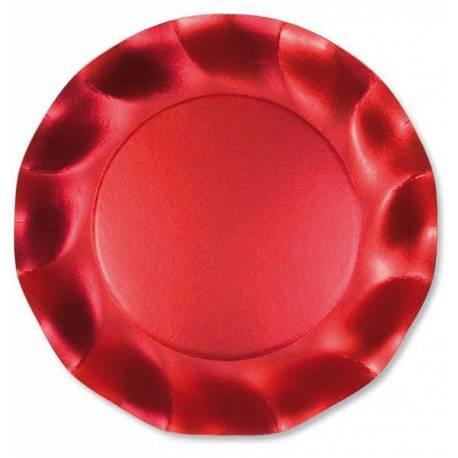 10 Assiettes en carton rougesatiné Les bords ont un élégant effet de vague Ø 21 cm
