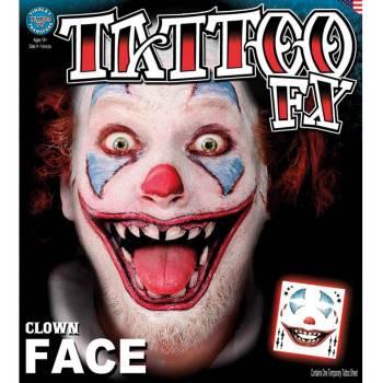 Tattoo faciale clown effrayant