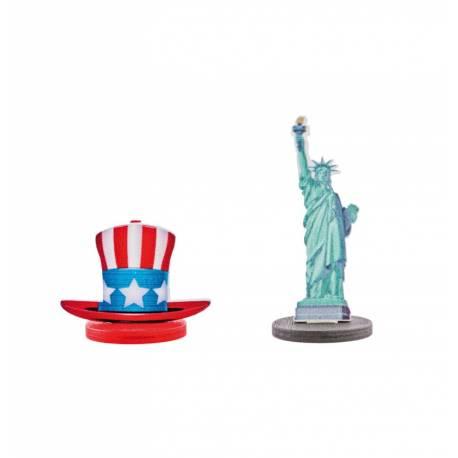 4 porte noms USA en bois pour decorer vos fètes sur le thème des etats unis Dimensions : 4.5 cm /6 cm