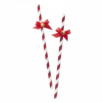 10 Pailles rouge Christmas clochettes