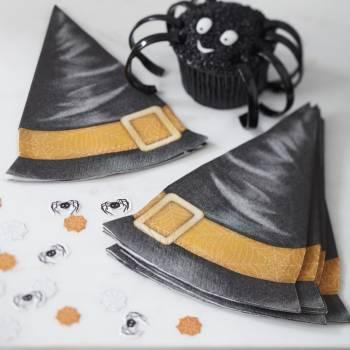 12 Serviettes chapeaux de sorcières