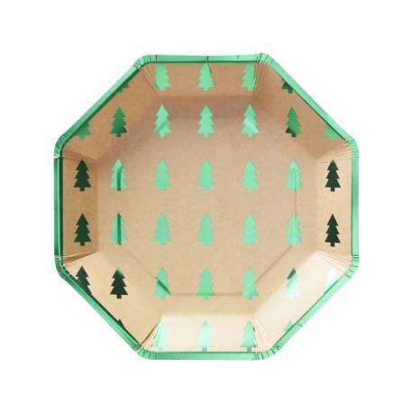 8 Assiettes en carton octogonales kraft avec impression de sapins et bordure vert métallisé Dimensions : Ø 23cm