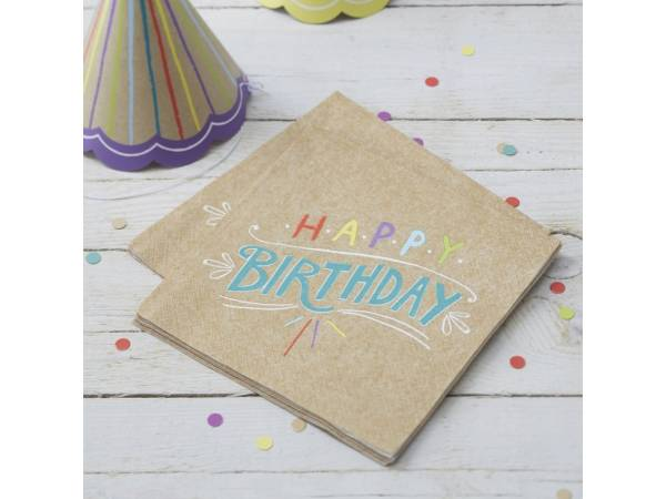 Anniversaire HB color nature Serviettes