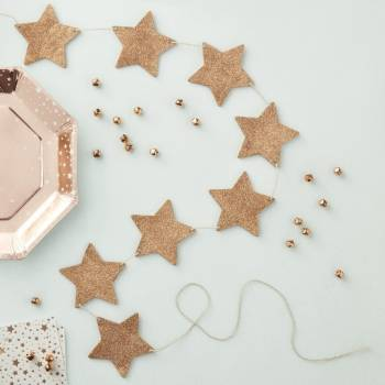 Guirlande étoiles gold rose pailleté