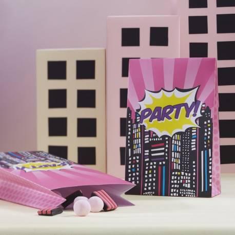 8 Sachets en papier pour bonbons sur le thème Superhéros Pop art girly Dimensions : 16.5 cm x 8 cm