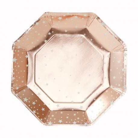 8 Assiettes en carton octogonales de couleur gold rose métallique avec étoiles blanches Dimensions : Ø 23cm