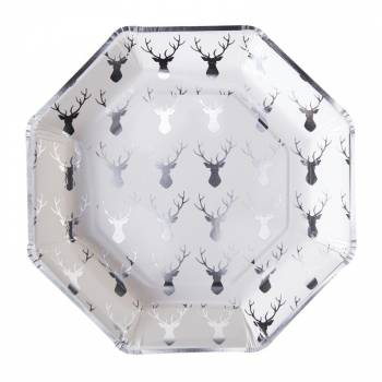 assiettes en carton octogonales de t te de cerf argent m tallis. Black Bedroom Furniture Sets. Home Design Ideas
