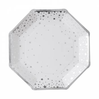 8 Assiettes octo metallic star argent