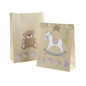 5 Pochettes cadeaux + stickers baby shower vintage