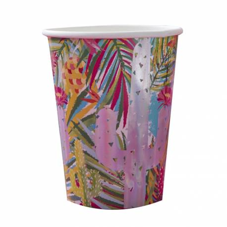 8 Gobelets en carton Hot Summer irisés Dimensions : 7 cm x 9 cm