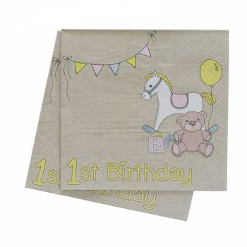 20 serviettes dessert baby shower vintage