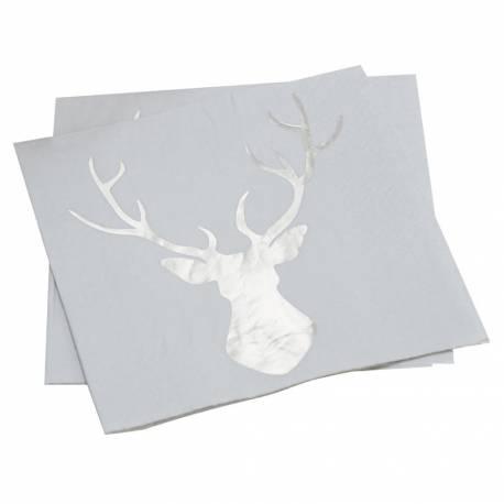 Paquet de 20 serviette en papier floqué métallisé argent d'un cerf pour une décoration de table de Noël tendance Dimensions : 33cm x 33cm