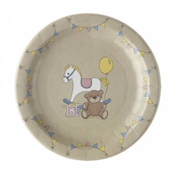 8 assiettes baby shower vintage