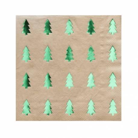 8 Serviettes en papier de couleur kraft avec impression de sapins vert métallisé Dimensions : 33cm x 33cm