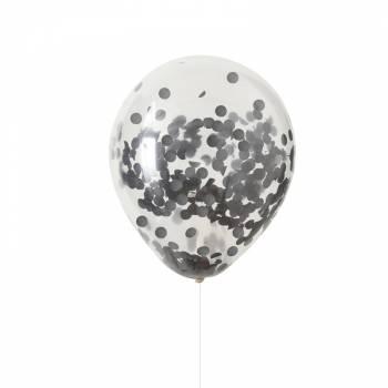 5 Ballons confettis noir
