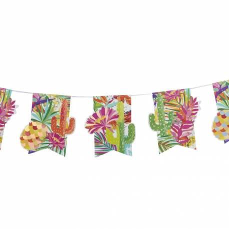 Guirlande de 12 fanions en carton thème Hot Summer irisée Dimensions : longueur de la guirlande 2.5 Mètres , le fanion 18 cm x 15 cm