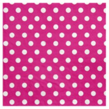20 Serviettes à mini pois rose