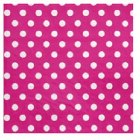 20 Serviettes en papier à mini pois rose 17 cm x 17cm fermé 33 cm x 33 cm ouverte
