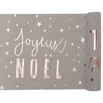 Chemin de table coton Joyeux Noël gold rose